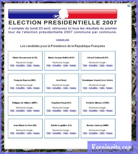 google earth le resultat des elections presidentielles 2007 commune par communekeroinsite. Black Bedroom Furniture Sets. Home Design Ideas